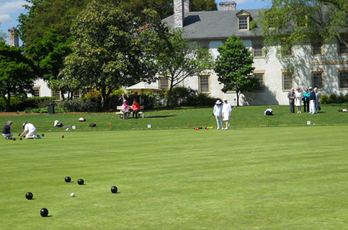Williamsburg residents rolled lawn bowls almost three centuries ago.  Documents show bowling here in 1720, and there is some evidence it occurred even earlier than that.   The game was also played in the streets in nearby Jamestown, the first permanent English speaking settlement, which celebrated its 400th birthday in 2007.